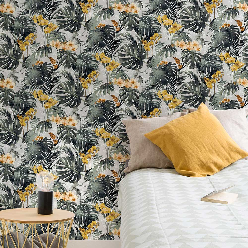 Orchid Jungle Wallpaper - Green - by Grandeco
