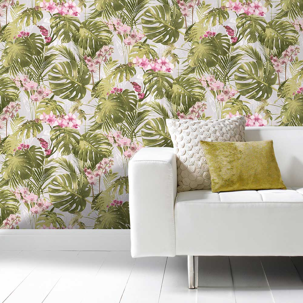 Grandeco Orchid Jungle Pink Wallpaper - Product code: MY2102