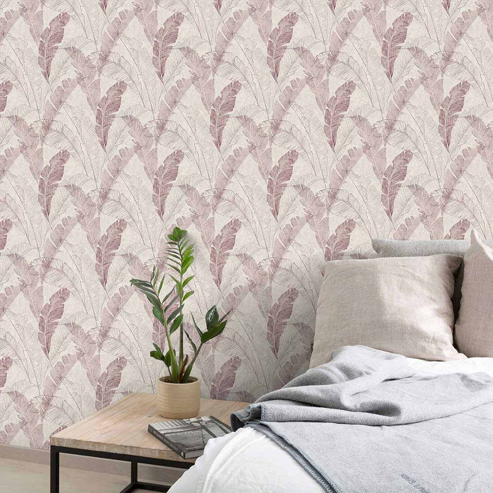 Grandeco Banana Leaf Pink Wallpaper - Product code: MY2201