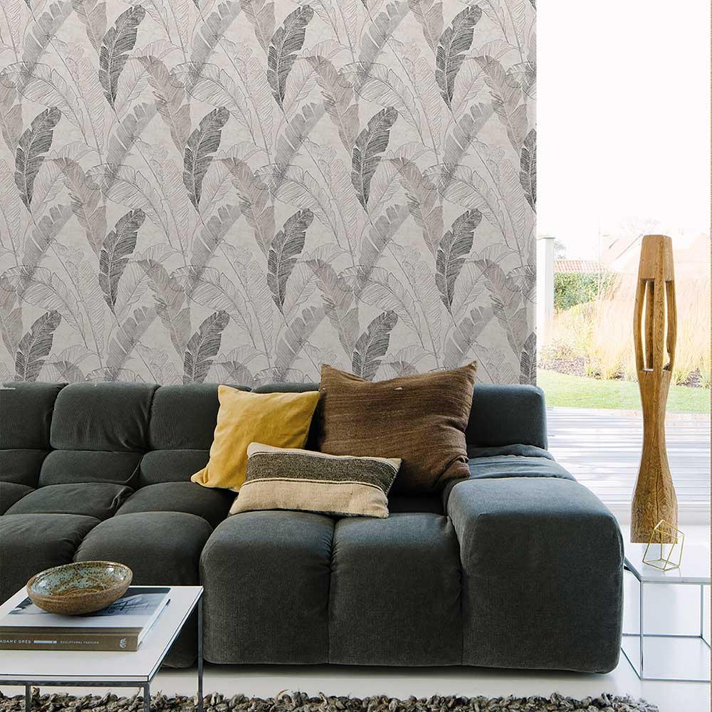 Grandeco Banana Leaf Grey Wallpaper - Product code: MY2203