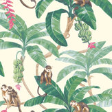 Grandeco Monkey Plantation Green Wallpaper - Product code: MY2401