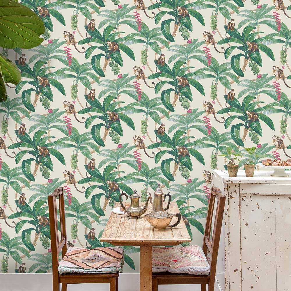 Monkey Plantation Wallpaper - Green - by Grandeco