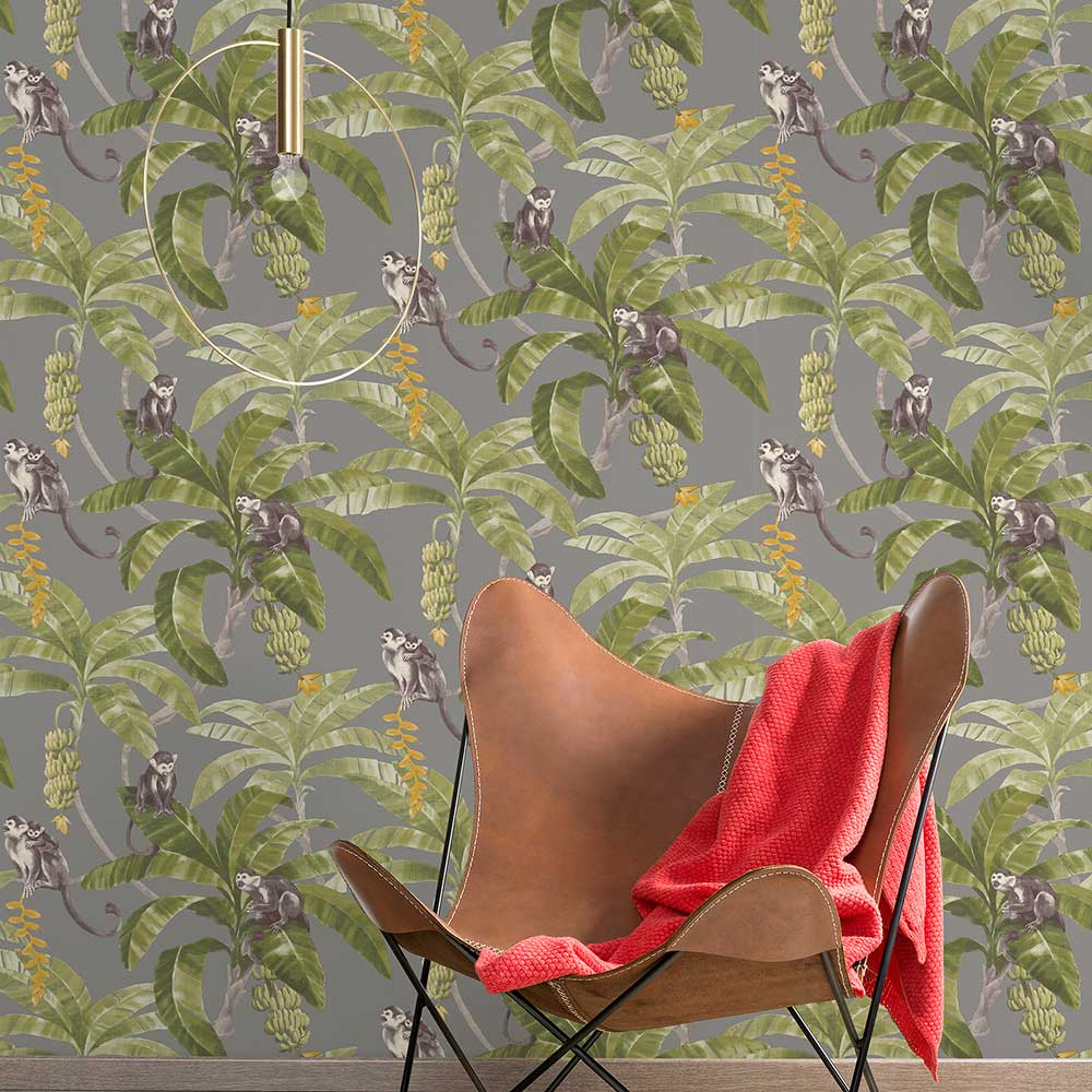 Grandeco Monkey Plantation Grey Wallpaper - Product code: MY2402