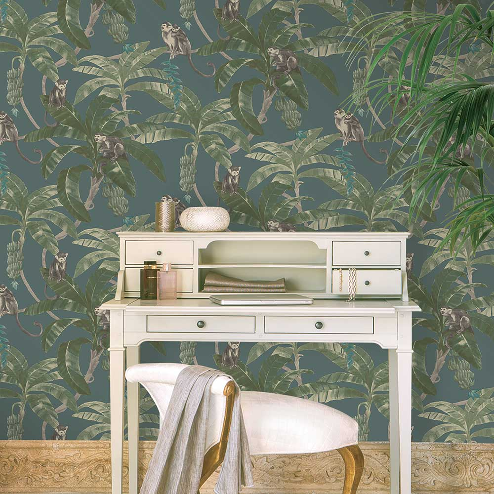 Grandeco Monkey Plantation Teal Wallpaper - Product code: MY2403