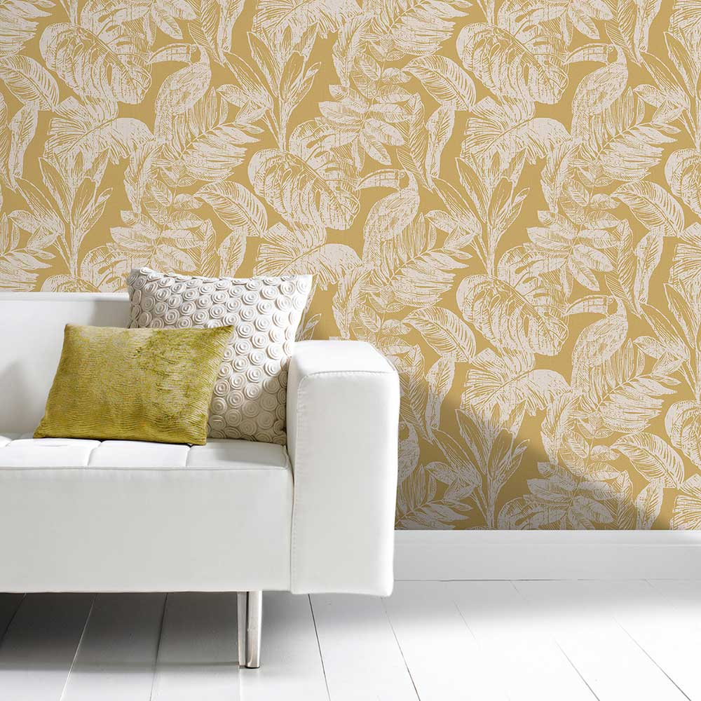 Toucan Jungle Wallpaper - Gold - by Grandeco