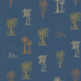 Laurence Llewelyn-Bowen Topical Tropical Blue / Metallics Wallpaper - Product code: LLB6035