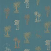 Laurence Llewelyn-Bowen Topical Tropical Teal / Metallics Wallpaper - Product code: LLB6036