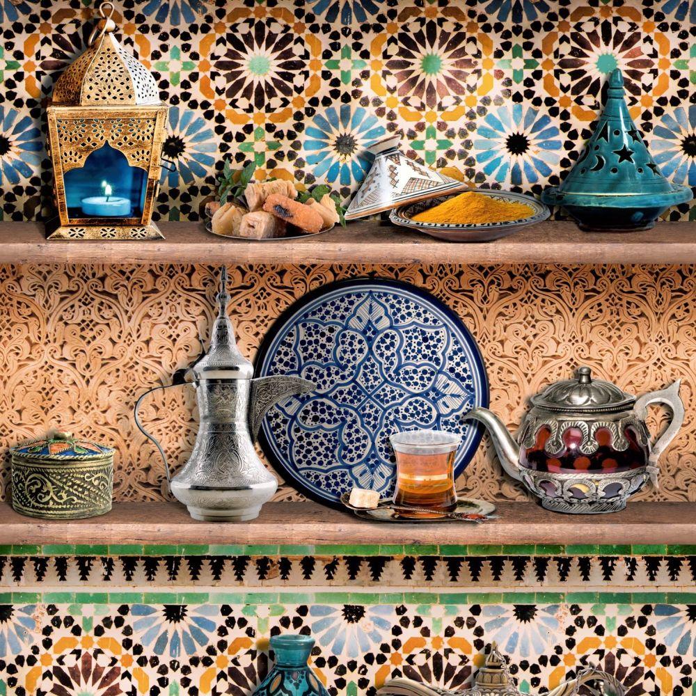 Mediterranean Shelves Wallpaper - Multi Coloured - by SK Filson