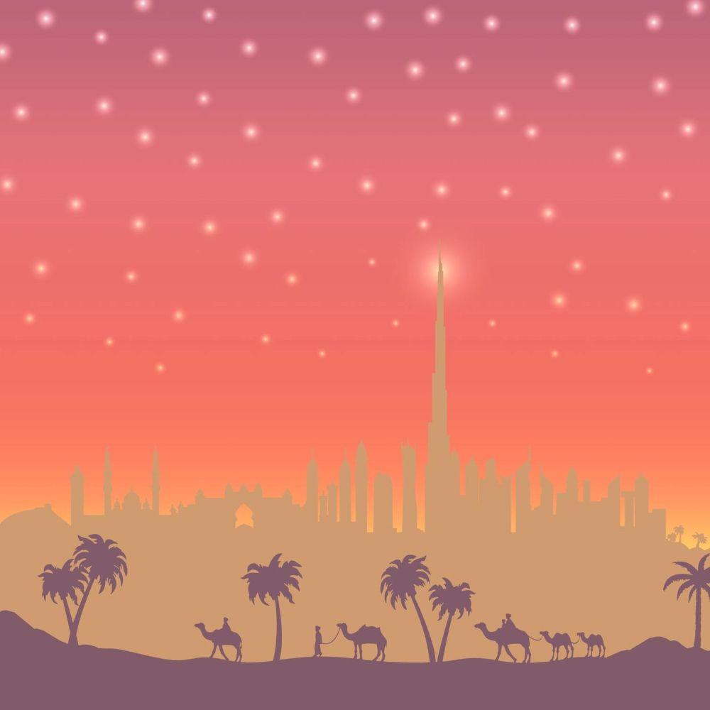 Dubai Landscape Border - Red - by SK Filson