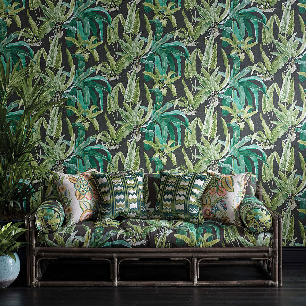 Nina Campbell Benmore Emerald/ Green/ Ebony Wallpaper - Product code: NCW4393-01