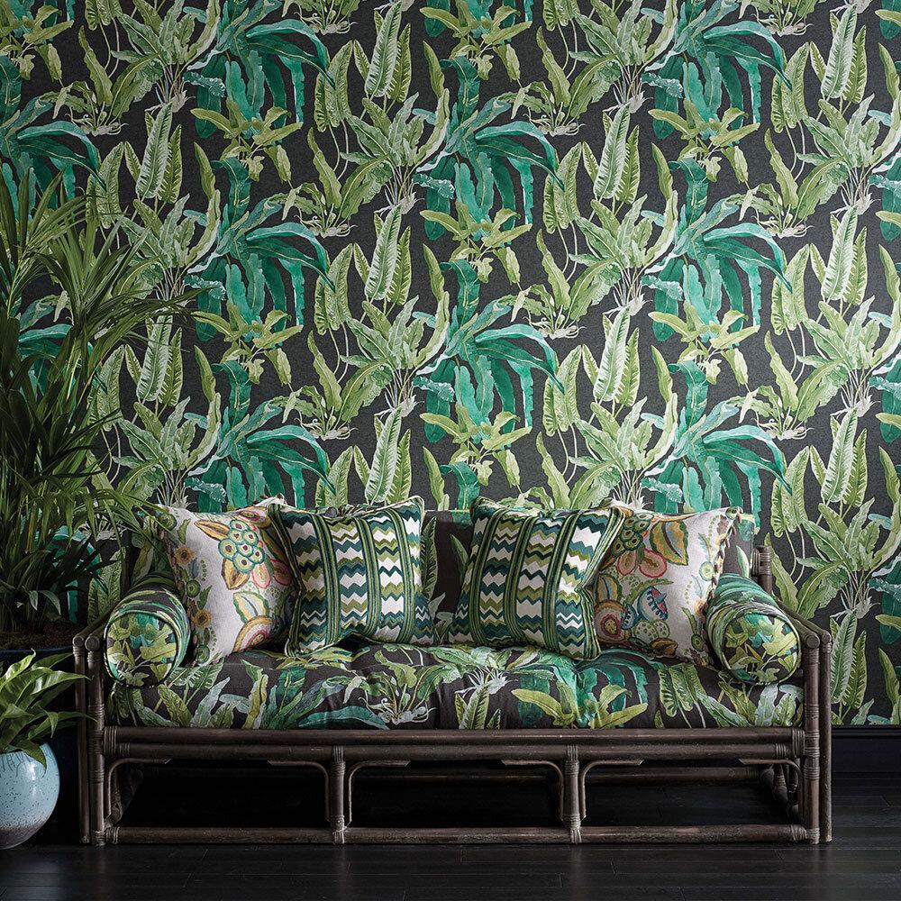 Benmore Wallpaper - Emerald/ Green/ Ebony - by Nina Campbell