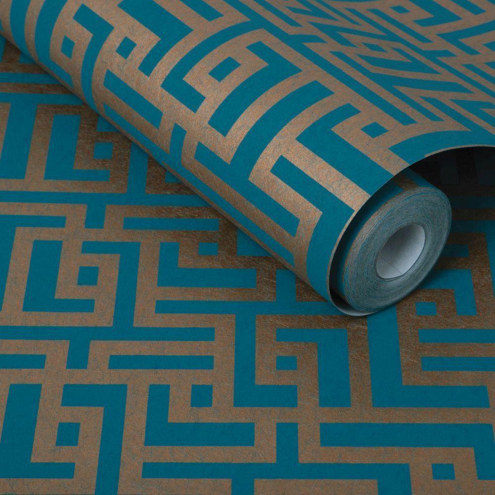 Zen Wallpaper - Teal - by Graham & Brown