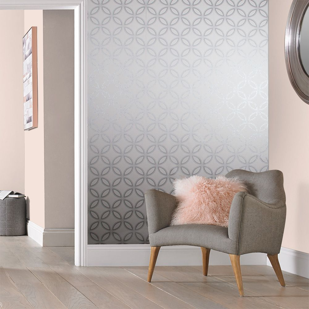 Graham & Brown Eternity White / Silver Wallpaper - Product code: 104067