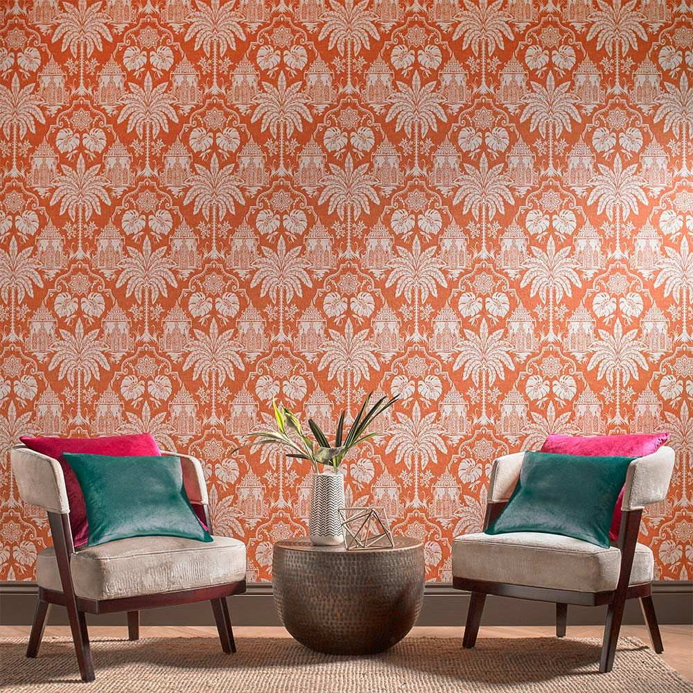 Imperial Wallpaper - Orange - by Graham & Brown