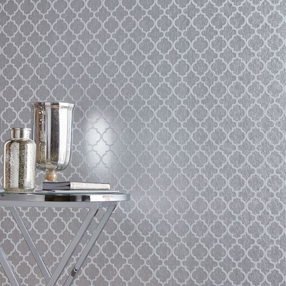 Trelliage Bead Wallpaper - Silver - by Graham & Brown