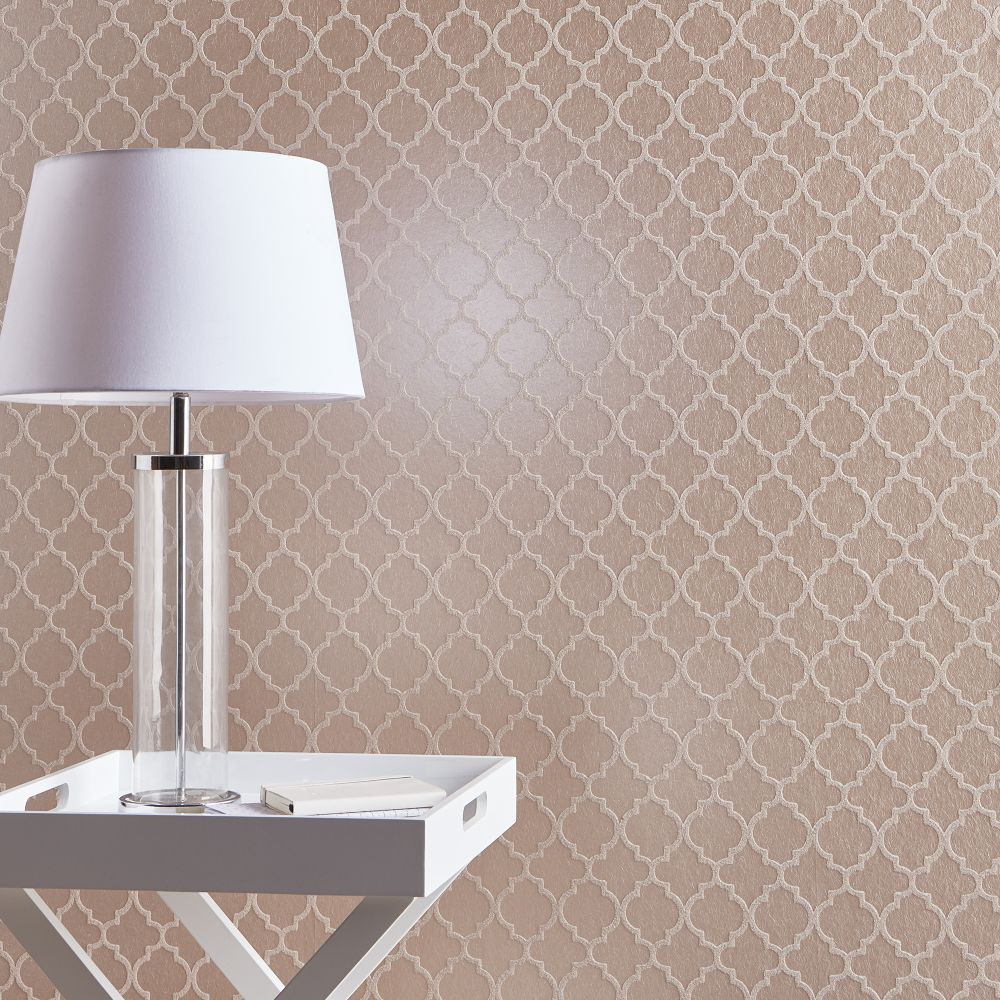 Graham & Brown Trelliage Bead Rose Gold Wallpaper - Product code: 105127