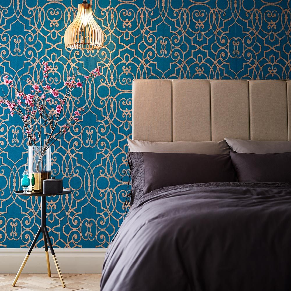 Graham & Brown Shoji Teal Wallpaper - Product code: 105233