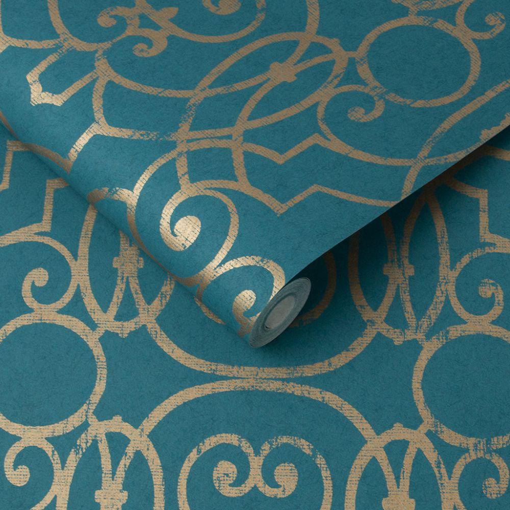 Shoji Wallpaper - Teal - by Graham & Brown