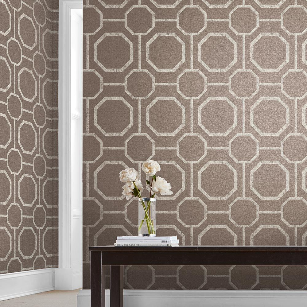 Sashiko Wallpaper - Greige - by Graham & Brown