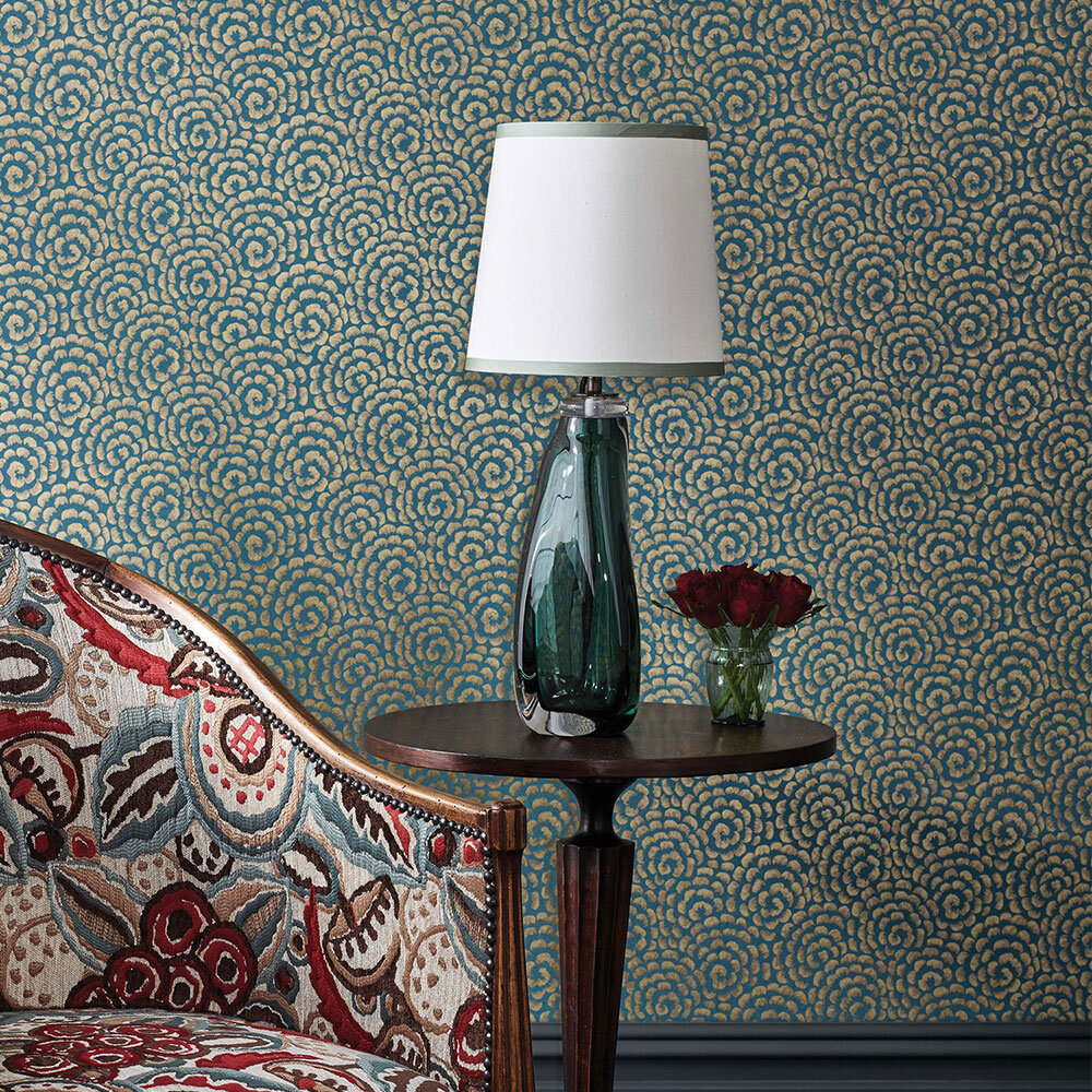 Nina Campbell Kingsley  Peacock/ Gold Wallpaper - Product code: NCW4395-01
