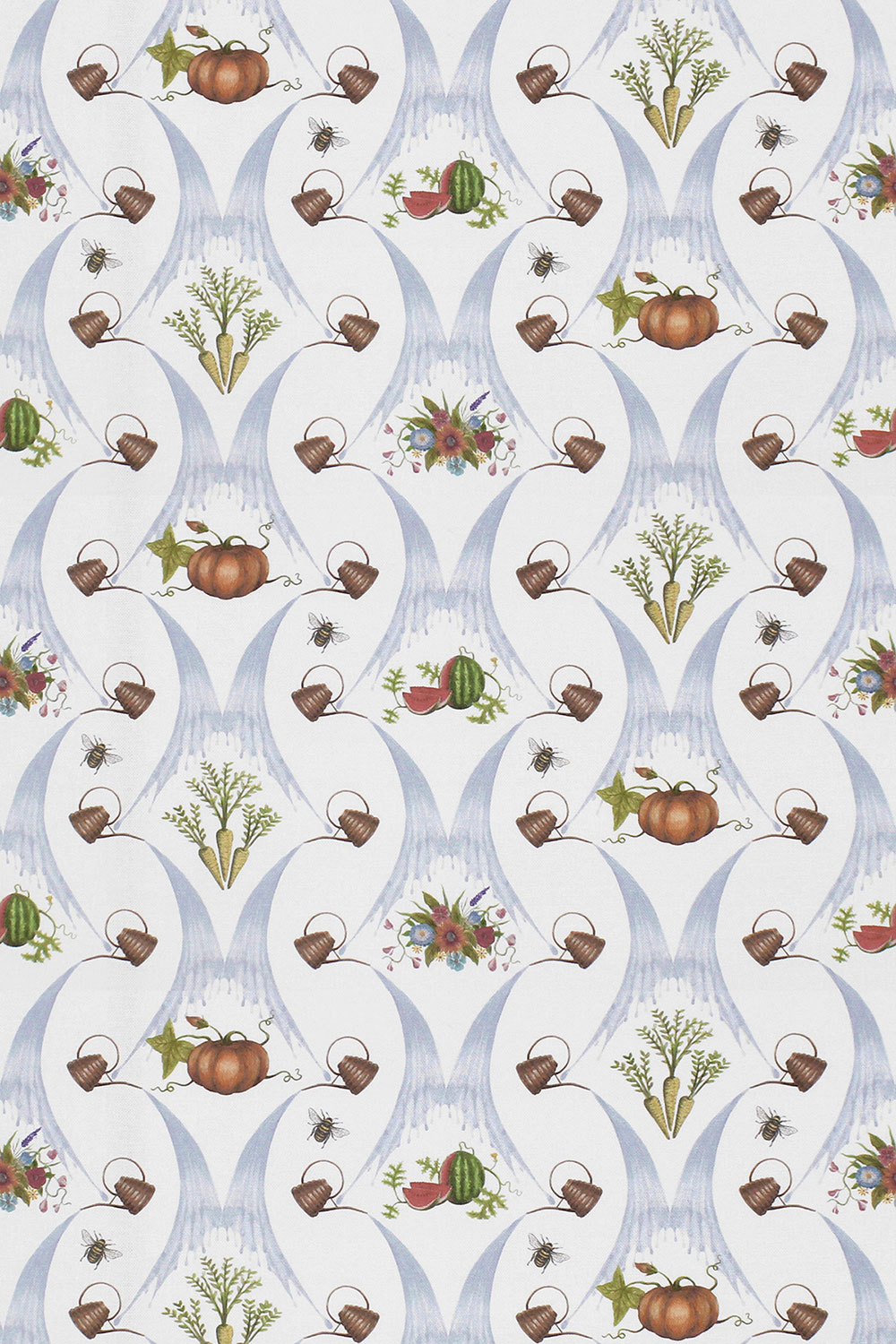 Watering Can Harvest Fabric - Blue - by The Chateau by Angel Strawbridge