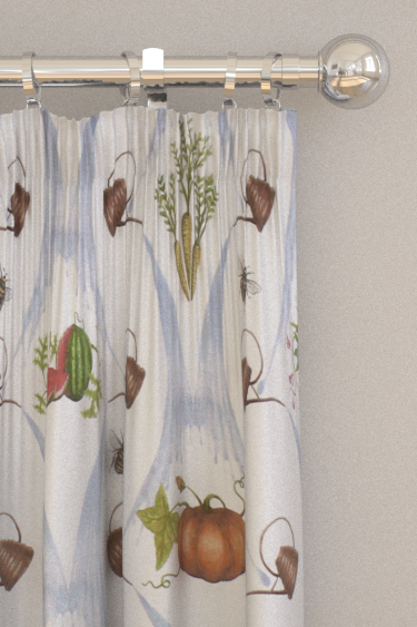 The Chateau by Angel Strawbridge Watering Can Harvest Fabric Blue Curtains - Product code: WCN/HRV/14000FA
