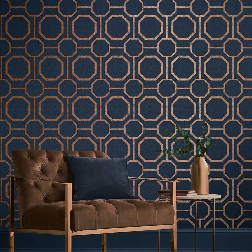 Graham & Brown Sashiko Navy Wallpaper - Product code: 105772