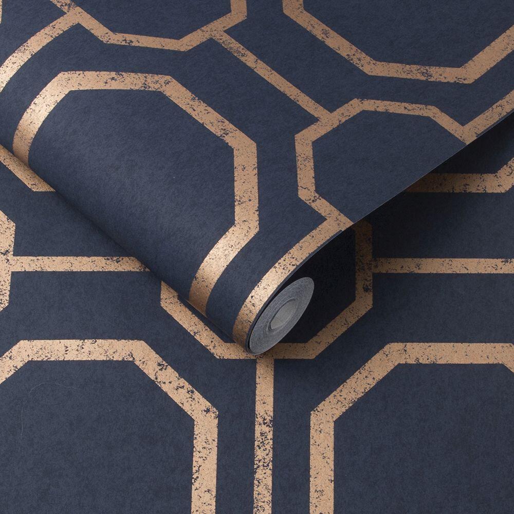 Sashiko Wallpaper - Navy - by Graham & Brown