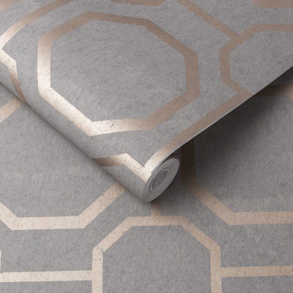 Graham & Brown Sashiko Rose Gold / Grey Wallpaper - Product code: 105773