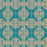 Graham & Brown Asian Lattice Teal Wallpaper - Product code: 105780