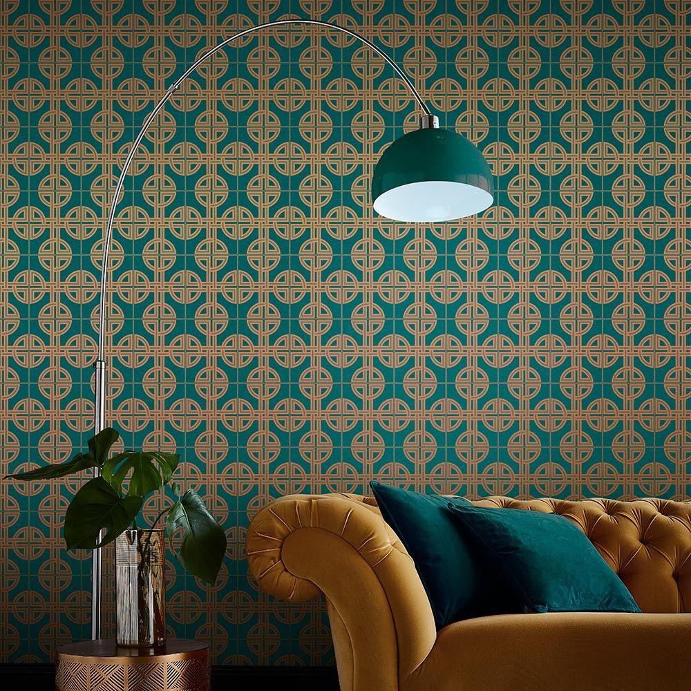 Graham & Brown Asian Lattice Teal Wallpaper - Product code: 105780