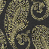 Graham & Brown Boteh Black / Gold Wallpaper - Product code: 105924