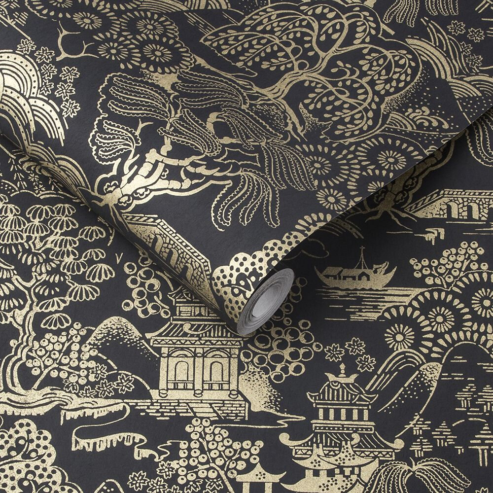 Basuto Wallpaper - Black / Gold - by Graham & Brown