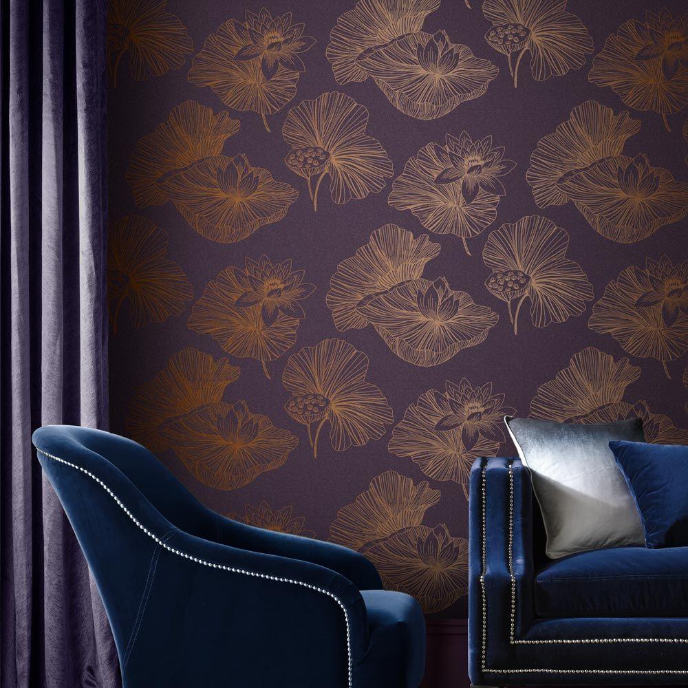 Graham & Brown Lotus Plum Wallpaper - Product code: 105936