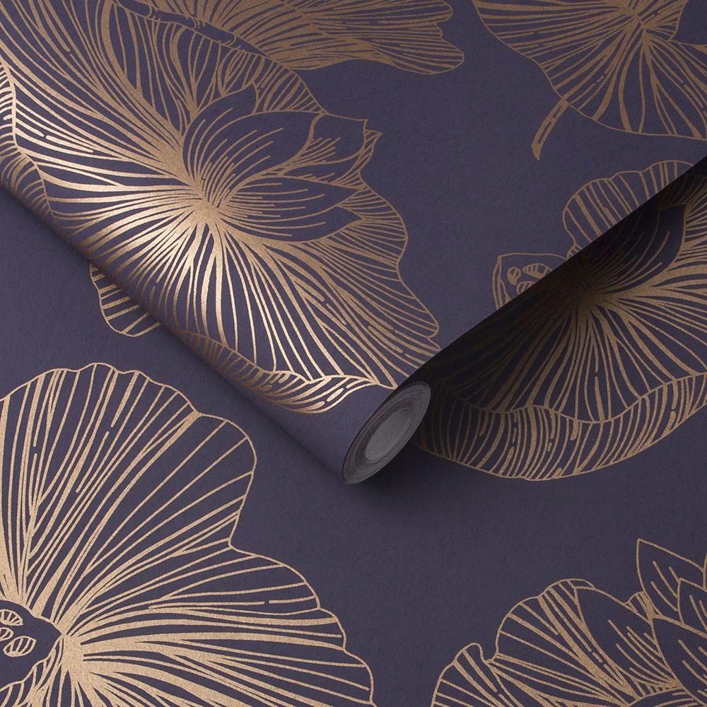 Lotus Wallpaper - Plum - by Graham & Brown