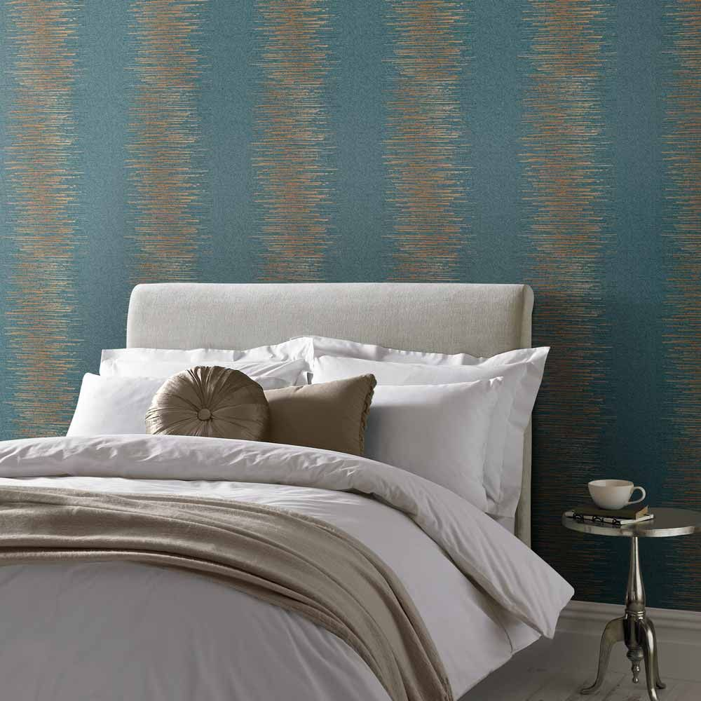 Graham & Brown Tornado Stripe Teal Wallpaper - Product code: 106393