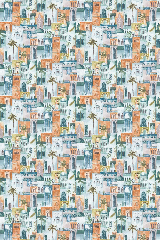 Marrakech Fabric - Teal / Spice - by Clarke & Clarke