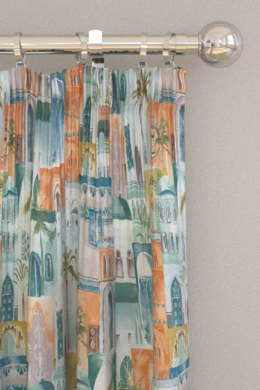 Clarke & Clarke Marrakech Teal / Spice Curtains - Product code: F1368-04