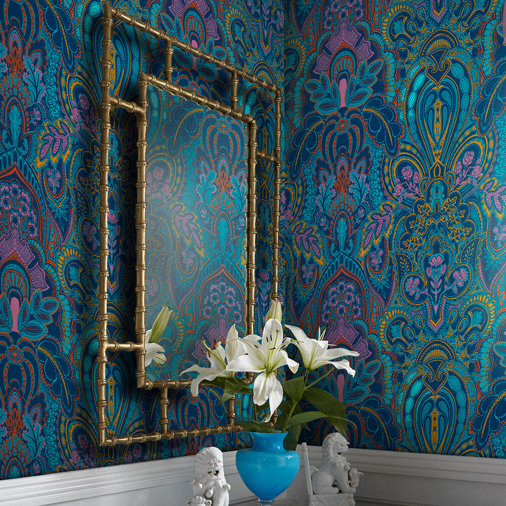 Damask Dangereuse Wallpaper - Blue - by Laurence Llewelyn-Bowen