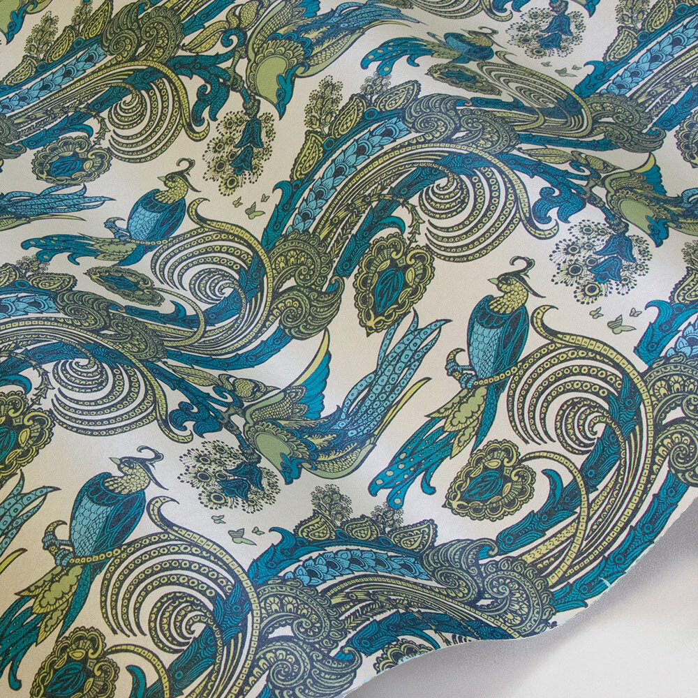 Fantoosh Wallpaper - Green / Blue - by Laurence Llewelyn-Bowen