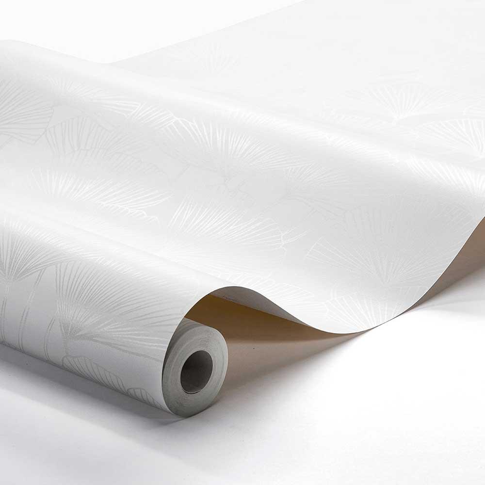 Ginkgo Wallpaper - White - by Boråstapeter