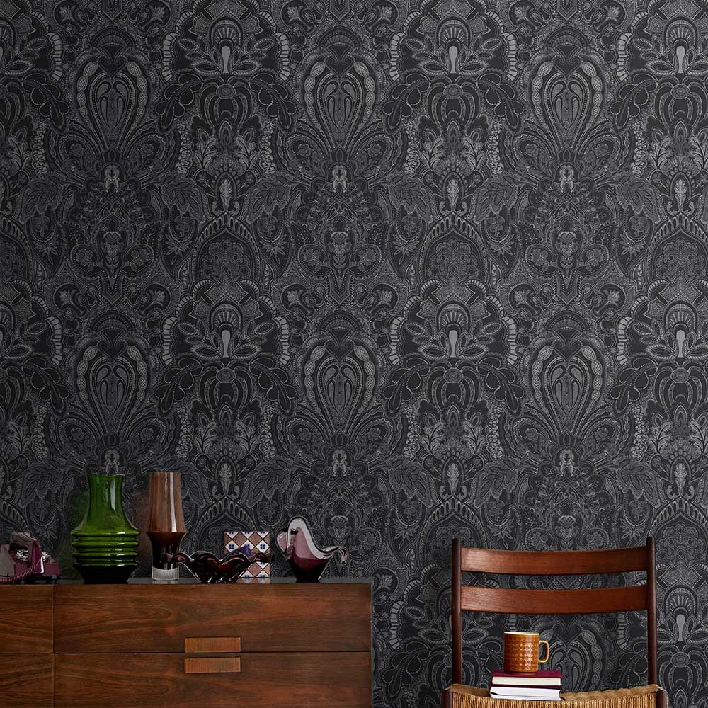 Damask Dangereuse Wallpaper - Silver / Black - by Laurence Llewelyn-Bowen