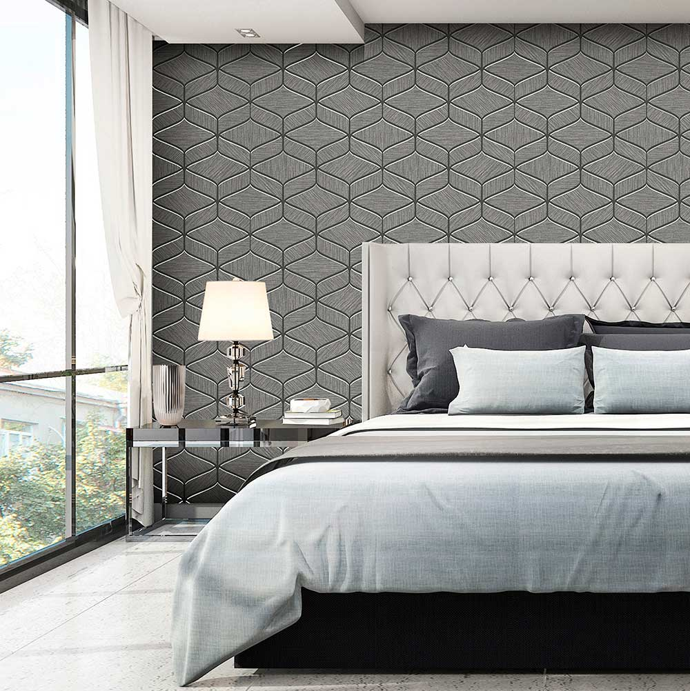 Luciano Geo Wallpaper - Gunmetal - by Albany