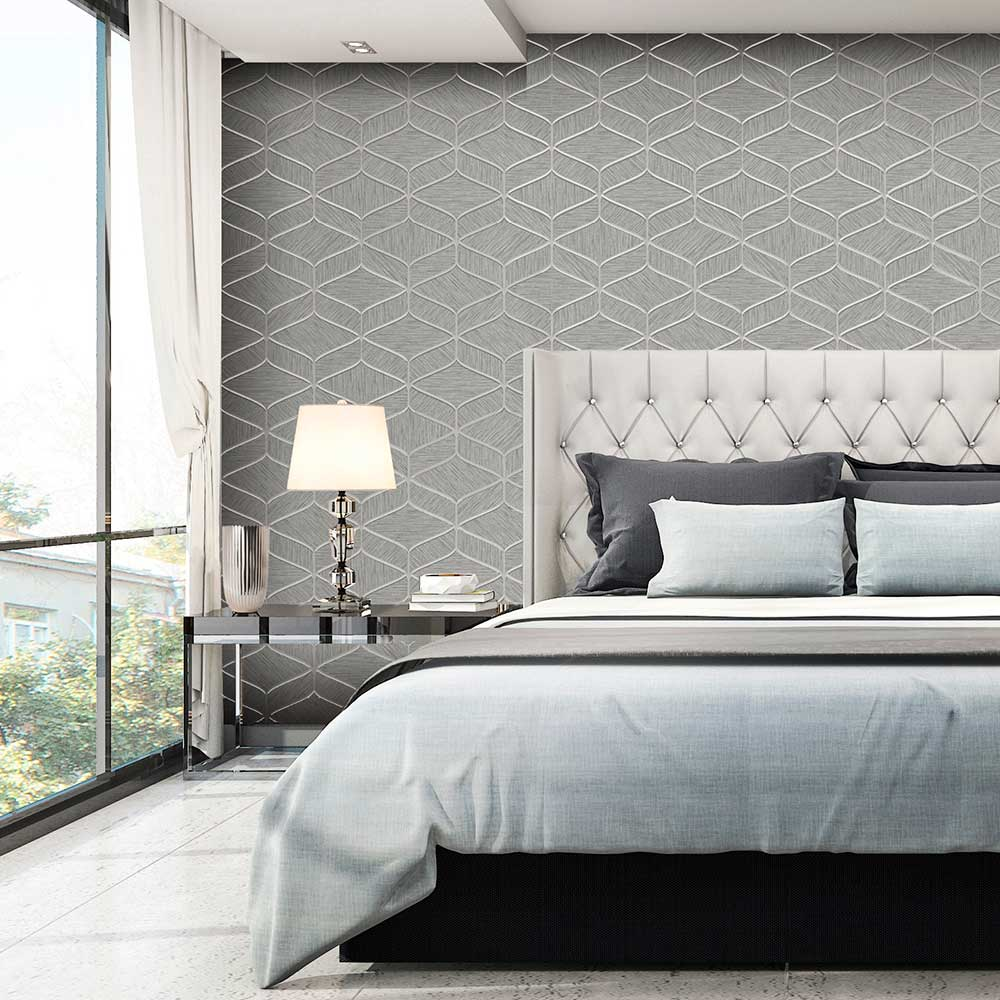 Luciano Geo Wallpaper - Silver - by Albany
