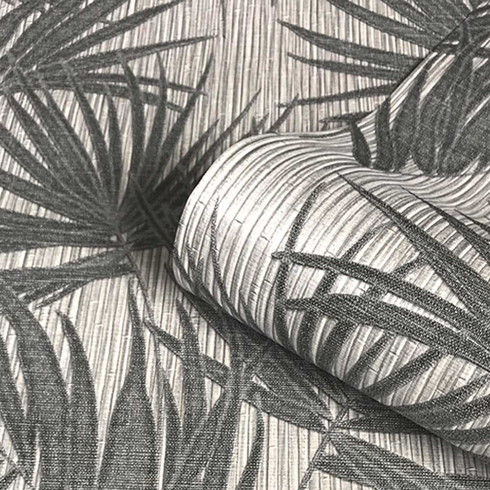 Aurora Palm Wallpaper - Gunmetal - by Albany