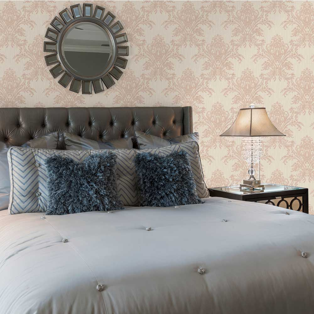 Sofia Damask Wallpaper - Rose Gold - by Albany