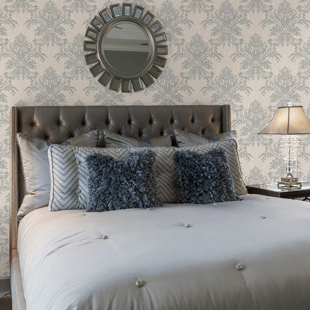 Sofia Damask Wallpaper - Silver - by Albany