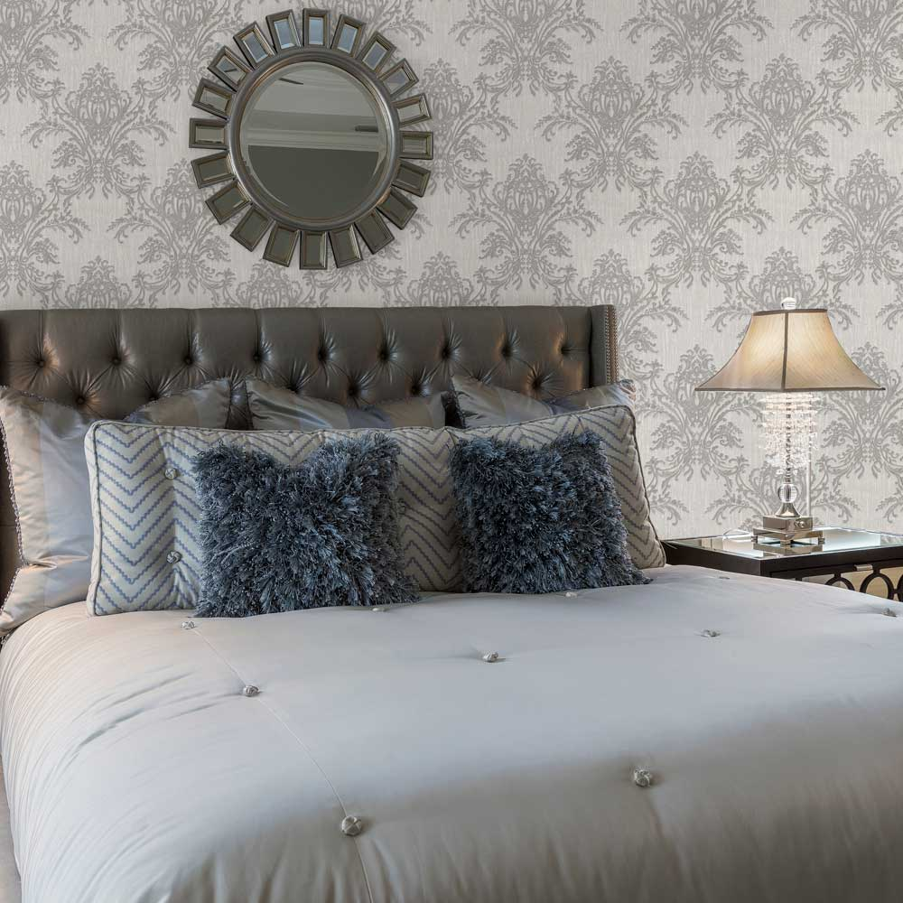 Sofia Damask Wallpaper - Silver Grey - by Albany