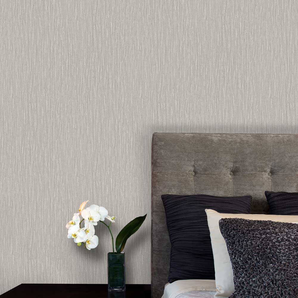 Sofia Texture Wallpaper - Silver - by Albany