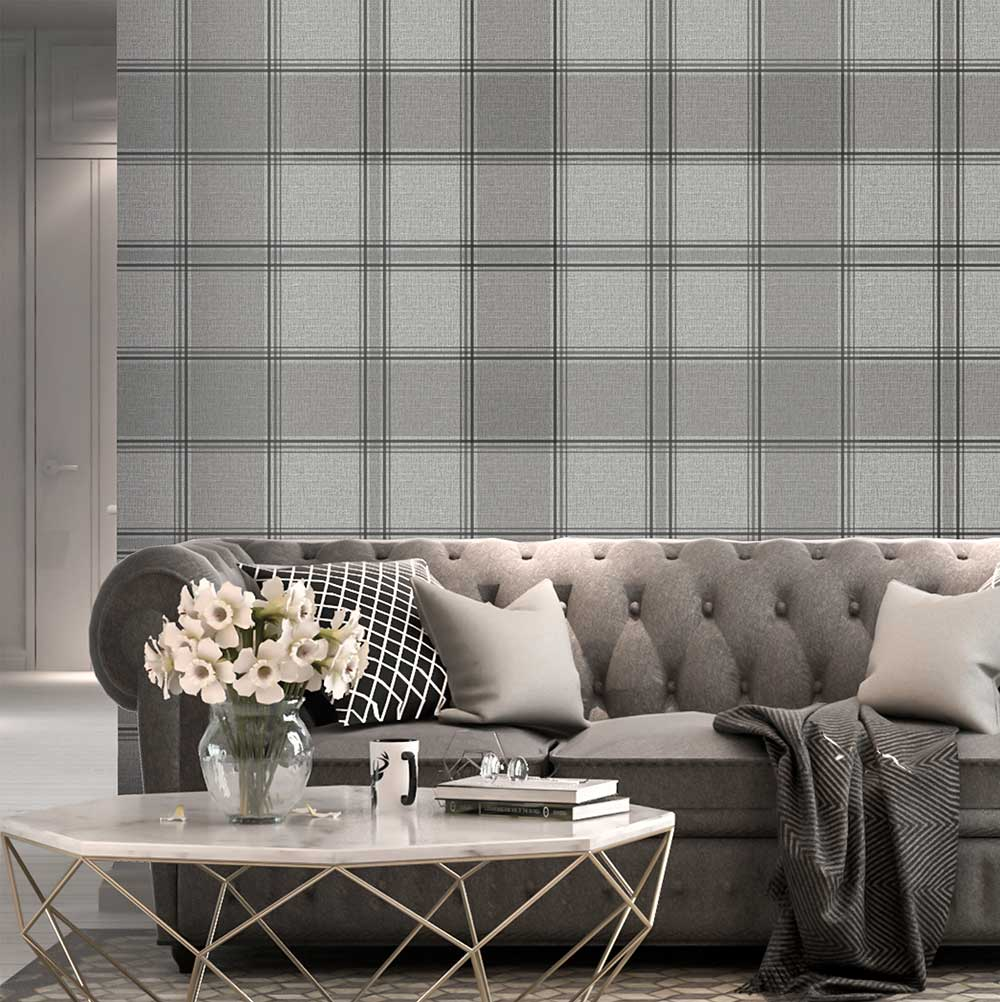 Giorgio Check Wallpaper - Silver - by Albany
